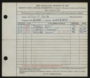 Entry card for Smith, William E. for the 1939 May Show.