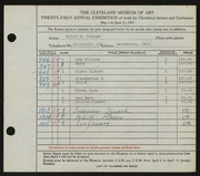 Entry card for Sommer, Edwin G. for the 1939 May Show.