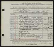 Entry card for Stanford, Zell C. for the 1939 May Show.