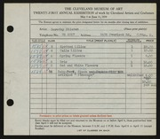 Entry card for Siebold, Dorothy Stieren for the 1939 May Show.