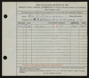 Entry card for Stillwell, William D. for the 1939 May Show.