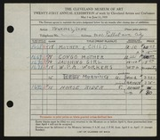 Entry card for Tenkacs, John for the 1939 May Show.