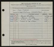 Entry card for Tupper, Jack for the 1939 May Show.