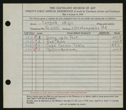 Entry card for Vago, Sandor for the 1939 May Show.