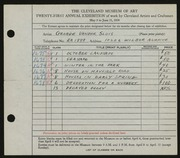 Entry card for Vander Sluis, George for the 1939 May Show.