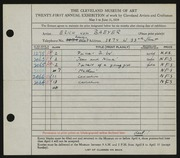 Entry card for Von Baeyer, Erich for the 1939 May Show.