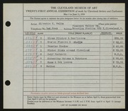 Entry card for Waltz, Olivette K. for the 1939 May Show.