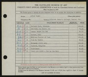 Entry card for Wands, Alfred J. for the 1939 May Show.