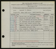 Entry card for Weiser, Raymond T. for the 1939 May Show.