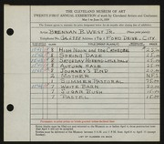 Entry card for West, Brennan B., Jr. for the 1939 May Show.