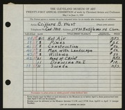 Entry card for West, Clifford B. for the 1939 May Show.