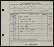 Entry card for Whitworth, Ernest for the 1939 May Show.