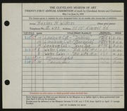 Entry card for David, Adeline Wilkens for the 1939 May Show.