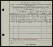 Entry card for Wilkens, Lillian M. for the 1939 May Show.