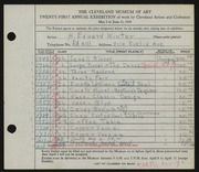 Entry card for Winter, H. Edward for the 1939 May Show.