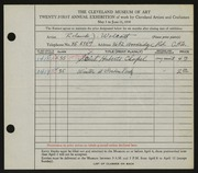 Entry card for Wolcott, Roland J. for the 1939 May Show.