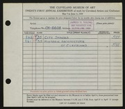 Entry card for Young, James H. for the 1939 May Show.