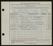 Entry card for Young, Jay Quinter for the 1939 May Show.