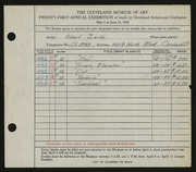 Entry card for Zerlin, Robert for the 1939 May Show.