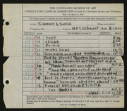 Entry card for Zuelch, Clarence E. for the 1939 May Show.