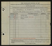 Entry card for Abbott, Wendell H. for the 1940 May Show.