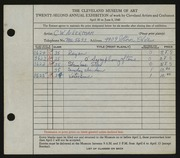 Entry card for Ackerman, Charles W. for the 1940 May Show.