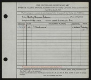 Entry card for Adams, Betty Browne for the 1940 May Show.