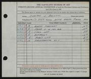 Entry card for Bachtel, Clayton J. for the 1940 May Show.