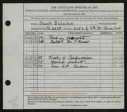 Entry card for Bahadur, Shanti for the 1940 May Show.