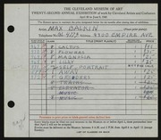 Entry card for Balkin, Max J. for the 1940 May Show.