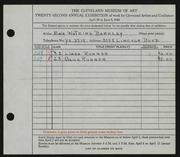 Entry card for Barkley, Maie Watkins for the 1940 May Show.