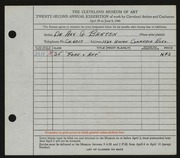 Entry card for Barton, De Arv G. for the 1940 May Show.