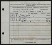 Entry card for Bayard, Donald Duer for the 1940 May Show.