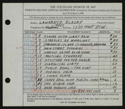 Entry card for Blazey, Lawrence for the 1940 May Show.
