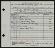 Entry card for Bolt, Dr. Richard Arthur for the 1940 May Show.
