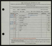 Entry card for Bosworth, Otis B. for the 1940 May Show.