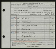 Entry card for Bruce, Jim for the 1940 May Show.