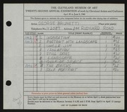 Entry card for Brunetti, George for the 1940 May Show.
