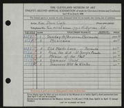 Entry card for Cass, Katherine Dorn for the 1940 May Show.