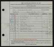 Entry card for Chamberlin, Price Albert for the 1940 May Show.