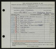 Entry card for Combes, Willard Wetmore for the 1940 May Show.