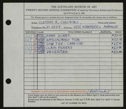 Entry card for Cykowski, Clement Allen for the 1940 May Show.
