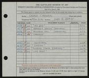 Entry card for Cykowski, George C. for the 1940 May Show.