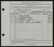 Entry card for Deike, Clara L. for the 1940 May Show.