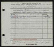Entry card for Didion, Lavina for the 1940 May Show.