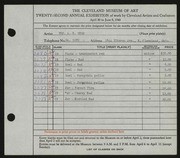 Entry card for Dyer, Nora E. for the 1940 May Show.