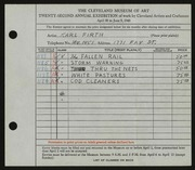 Entry card for Firth, Karl Warren for the 1940 May Show.