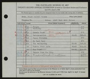 Entry card for Fousek, Frank Daniel for the 1940 May Show.