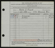 Entry card for Foust, Ruth J. for the 1940 May Show.