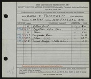 Entry card for Fuizzotti, Maria E. for the 1940 May Show.